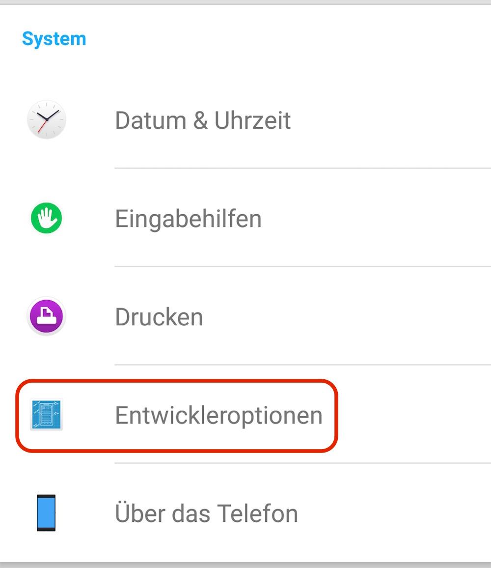 Android Entwickler Optionen (Bild: Screenshot Android).