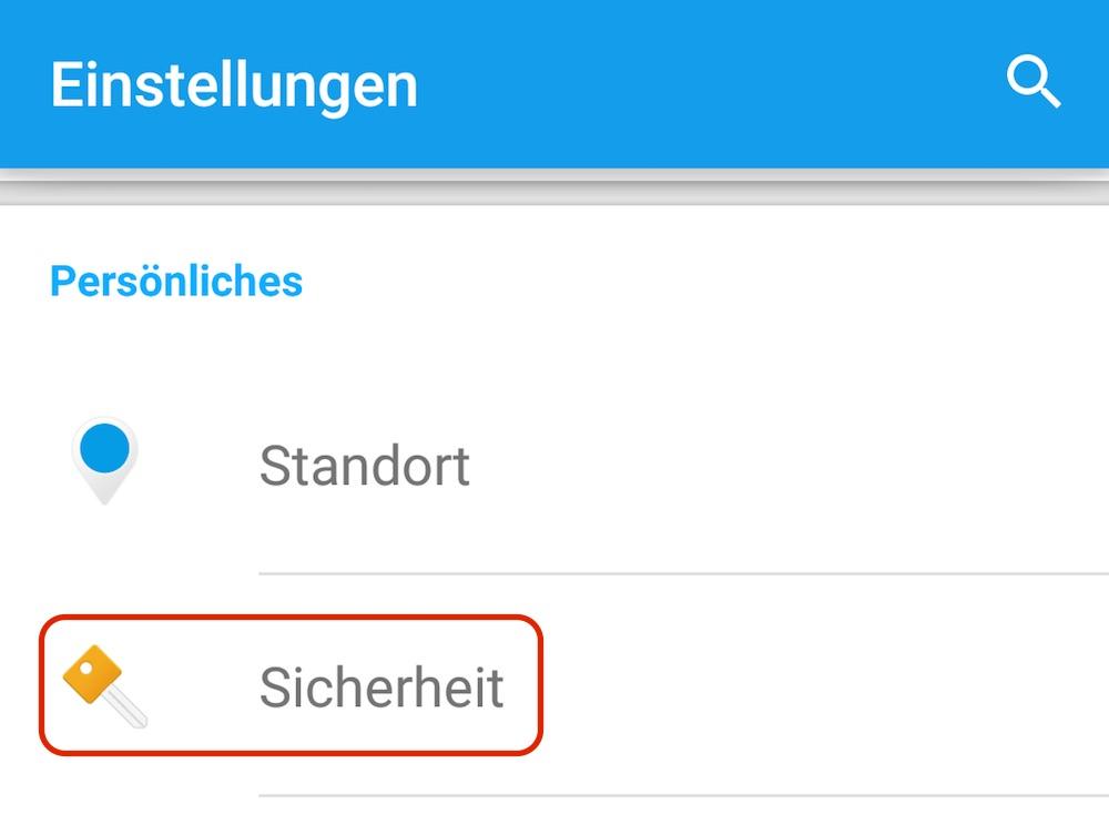 Die Sicherheitsoptionen unter Android Lollipop (Bild: Screenshot Android).