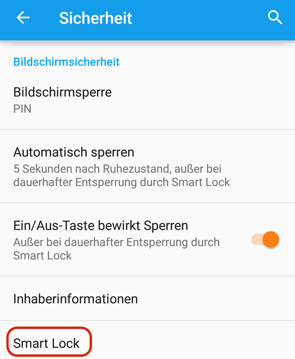 Google Android Smart Lock Option (Bild: Screenshot Android).