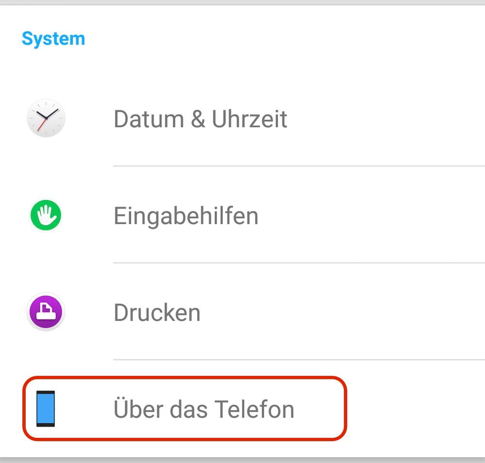 Die Einstellungen zum System suchen (Bild: Screenshot Android).