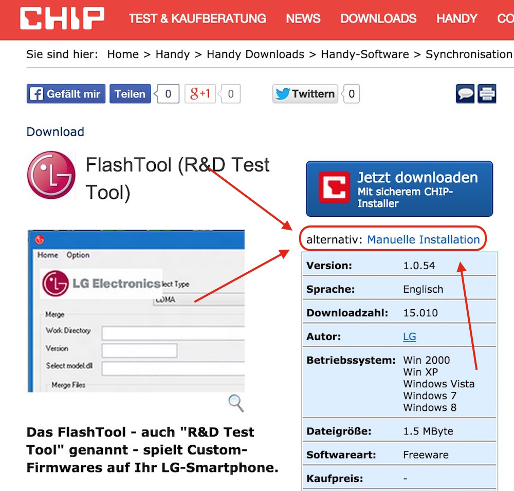 Downloads von Chip.de ohne den Chip-Installer (Bild: Chip.de Downloads).