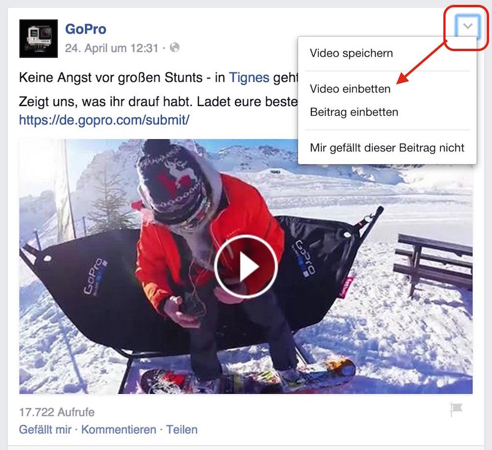 Facebook Videos in Webseiten einbinden (Bild: Screenshot GoPro Facebook).