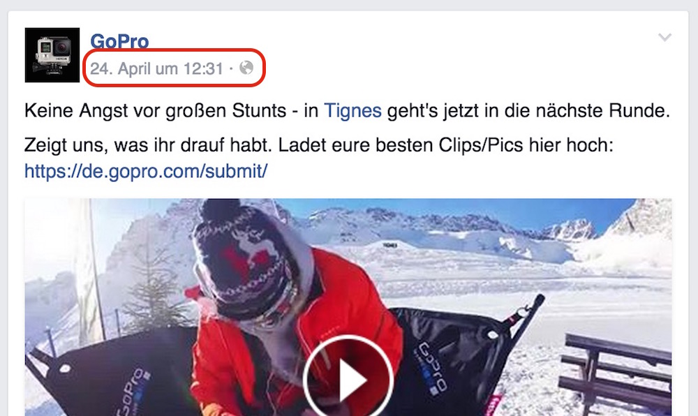 Facebook Videos in Webseiten einbinden (Bild: Screenshot GoPro Facebook).