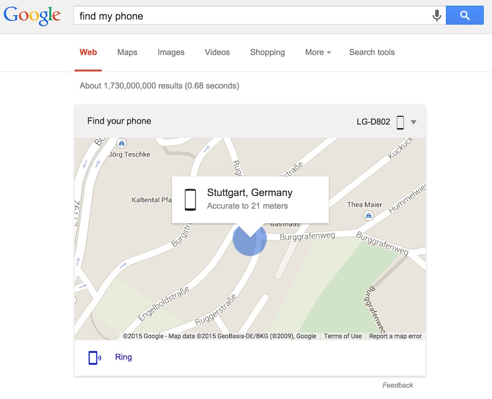 Find My Phone Google Suche (Bild: Screenshot Google.com).