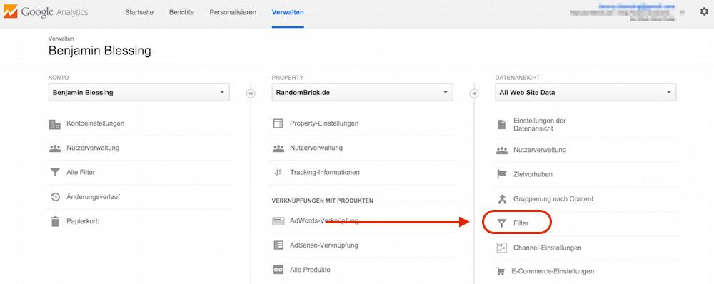 Webseiten Einstellungen in Google Analytics verwalten (Bild: Screenshot Google Analytics).
