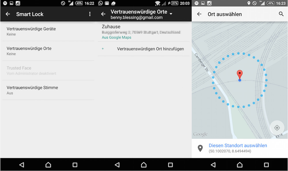 Smart Lock aktivieren in Android (Bild: Screenshot Android).