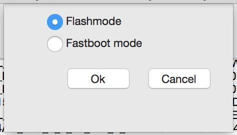 Flashmode auswählen (Bild: Screenshot Flashtool).