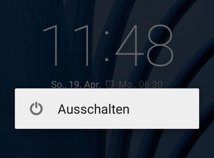 Das Moto G ausschalten (Bild: Screenshot Moto G).