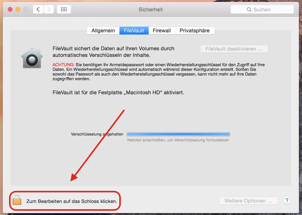 FileVault unter OS X aktivieren (Bild: Screenshot OS X).