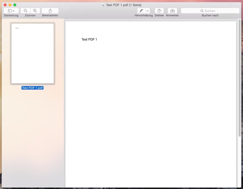 PDF Dateien in OS X zusammenfügen (Bild: Screenshot Vorschau).