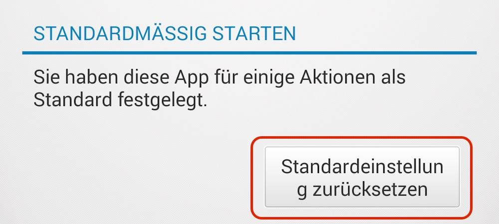 Standardeinstellungen zurücksetzen (Bild: Screenshot Android).