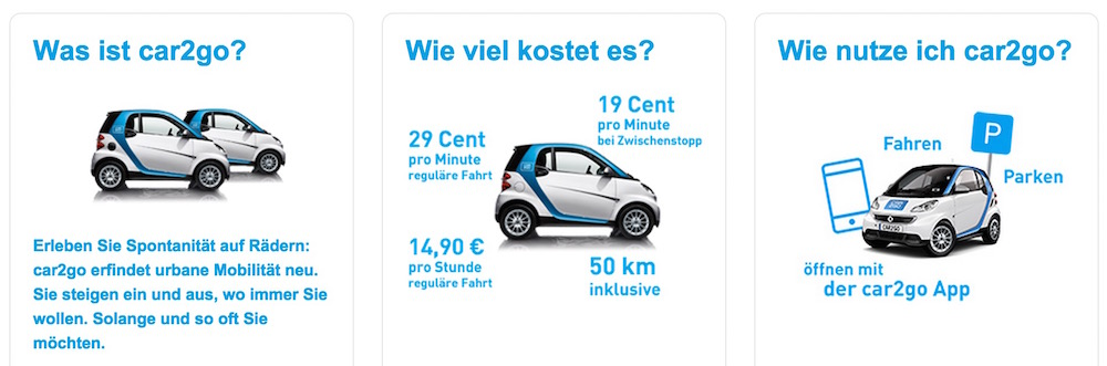 Die Kosten bei car2go (Bild: Screenshot car2go).