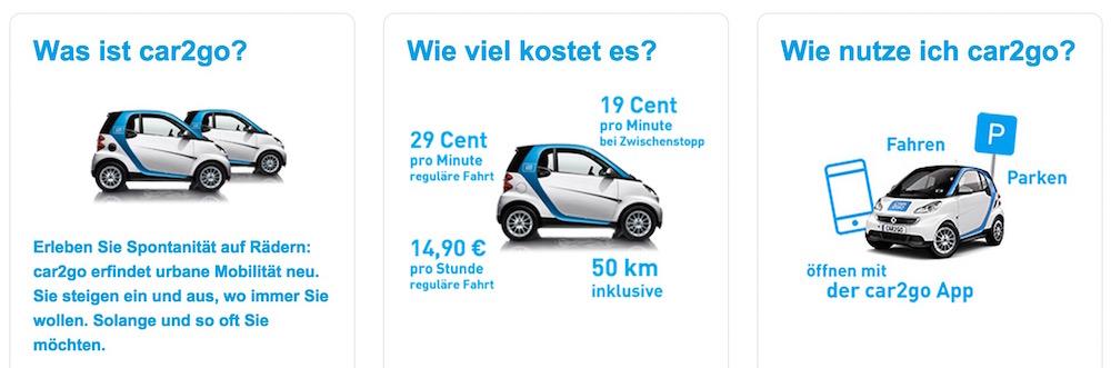 Die Kosten bei car2go (Bild: Screenshot car2go).