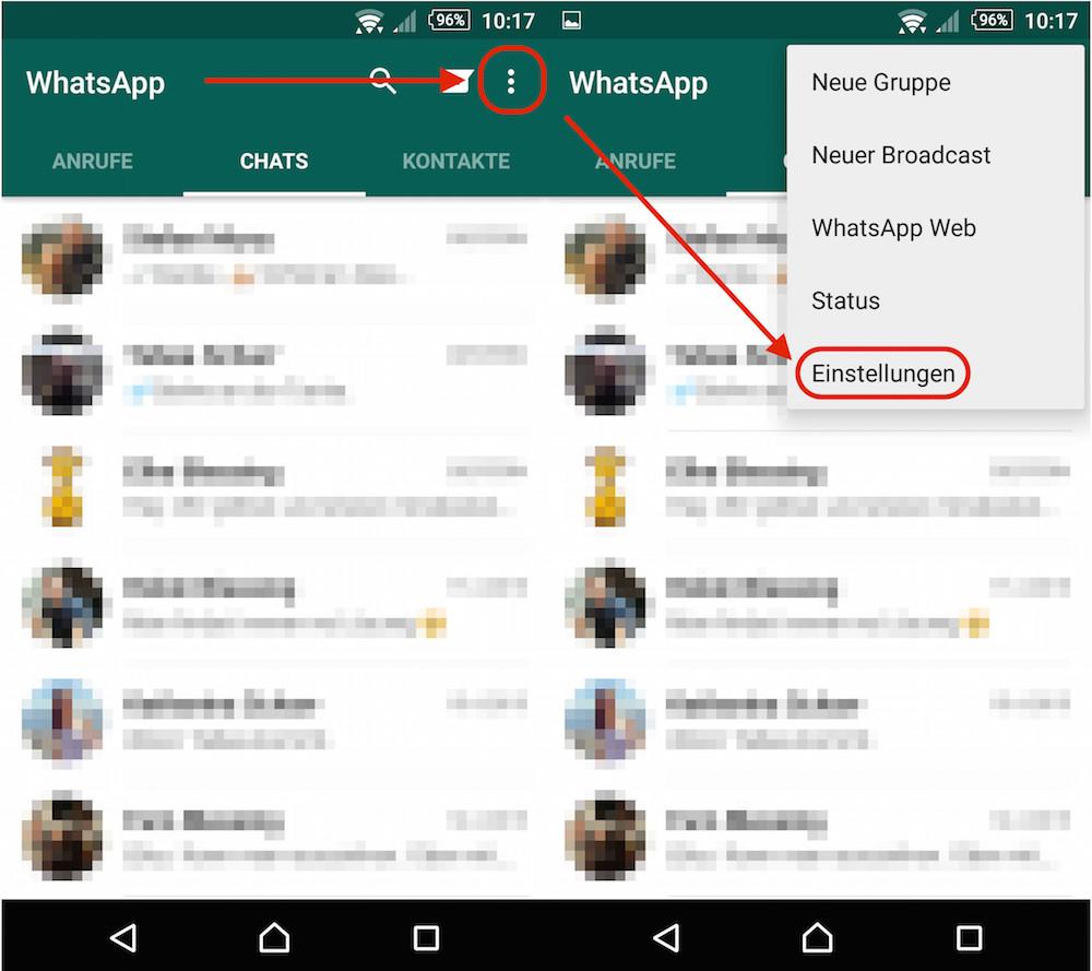 WhatsApp Einstellungen aufrufen (Bild: Screenshot WhatsApp).