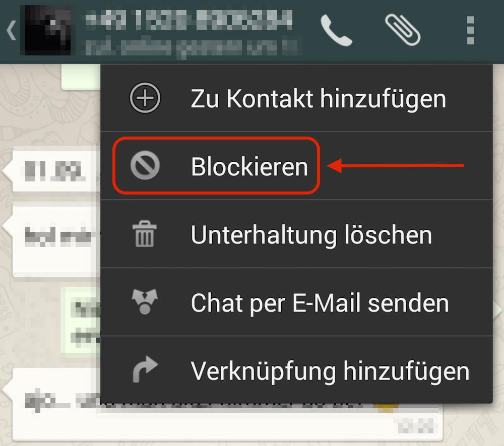 Anschließend kann der Kontakt blockiert werden (Bild: Screenshot WhatsApp).