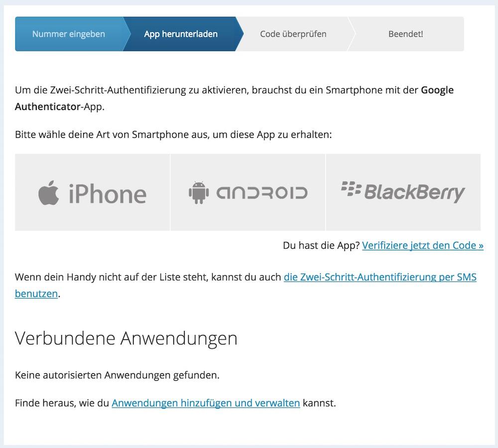 WordPress Zwei-Faktor-Authentifizierung (Bild: Screenshot WordPress.com).