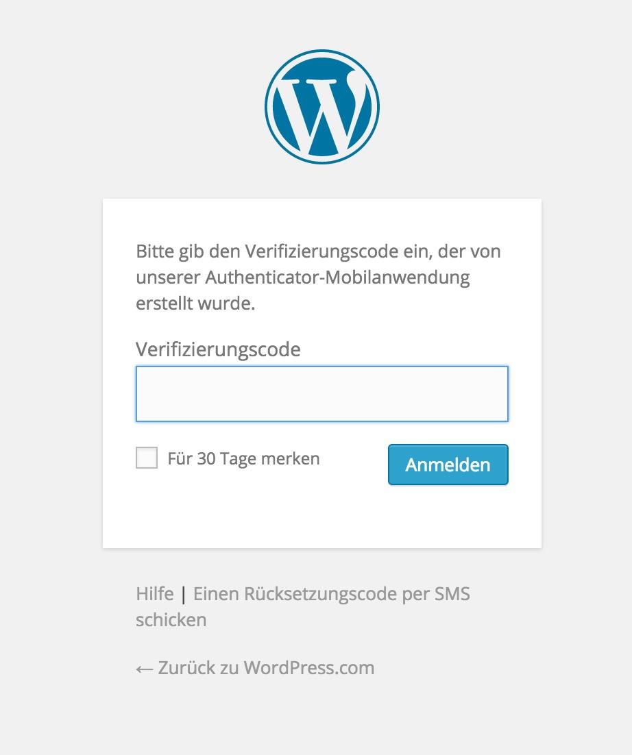 WordPress.com Zwei-Faktor-Authentifizierung (Bild: Screenshot WordPress.com).