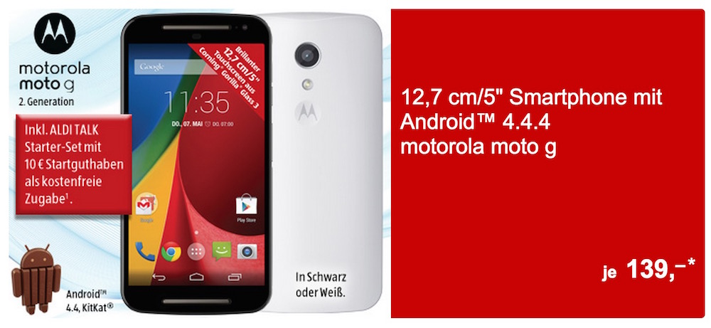 Das Motorola Moto G bei Aldi Süd im Angebot (Bild: Screenshot Aldi Süd).