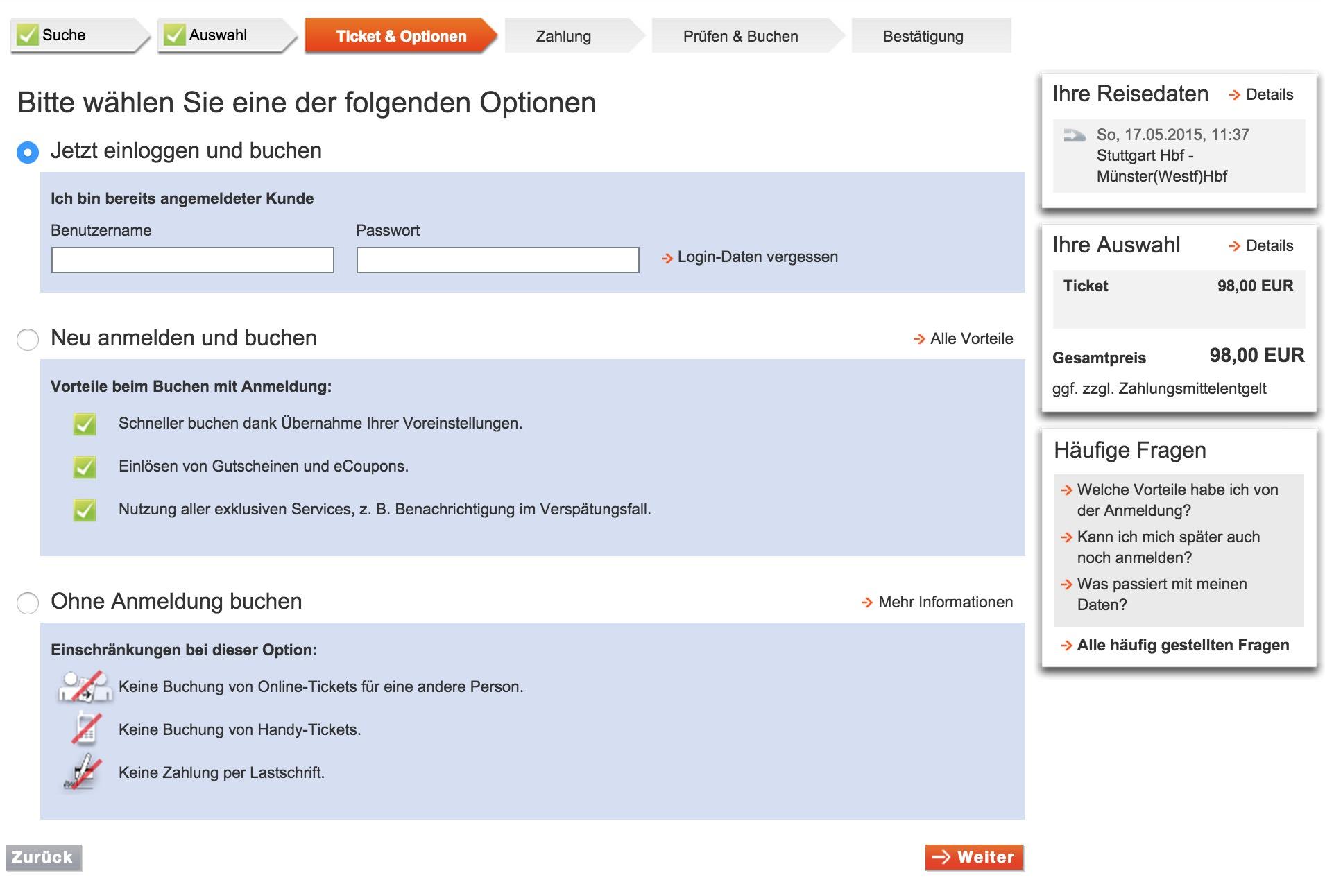 Bahn.de Login Bildschirm (Bild: Screenshot Bahn.de).