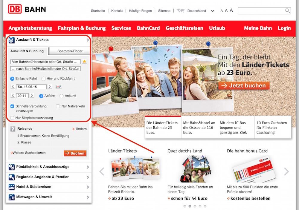 Das Portal der Deutschen Bahn (Bild: Screenshot Bahn.de).