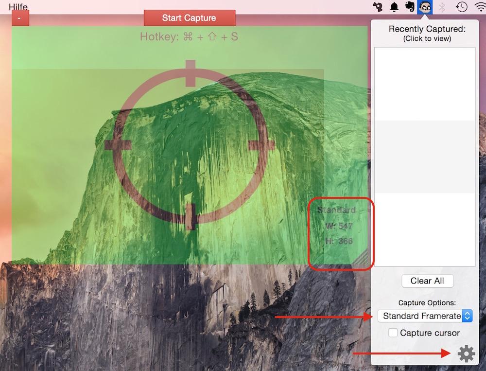 GifGrabber für OS X Einstellungen (Bild: Screenshot OS X).