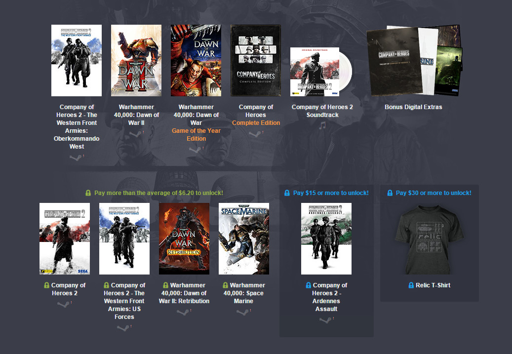 Humble Weekly Bundle mit Warhammer 40.000 und Company of Hero 2 (Bild: Screenshot Humble Bundle).