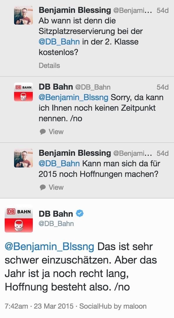 Das Versprechen der kostenlosen Sitzplatzreservierung ist mehr Luftschloss als konkrete Planung (Bild: Screenshot Twitter Bahn.de).