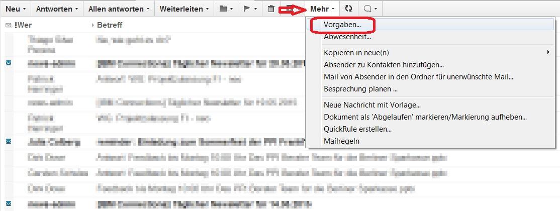Lotus Notes 9 E-Mail Vorgaben öffnen (Bild: Screenshot Lotus Notes 9).