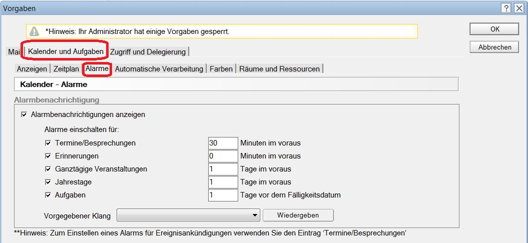 Lotus Notes 9 Kalender Benachrichtigungen aktivieren (Bild: Screenshot Lotus Notes 9).