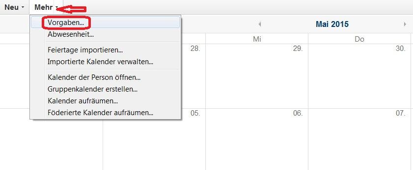 Lotus Notes 9 Kalender Vorgaben öffnen (Bild: Screenshot Lotus Notes 9).