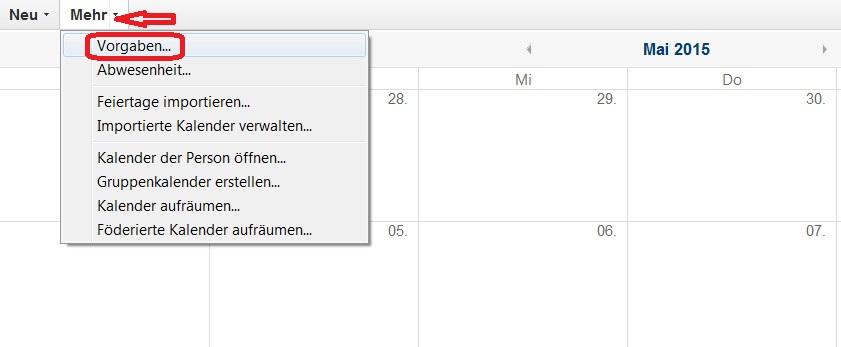 Lotus Notes 9 Kalender Vorgaben öffnen (Bild: Screenshot Lotus Notes 9).