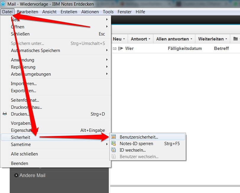 Lotus Notes Benutzersicherheit (Bild: Screenshot Lotus Notes 9).