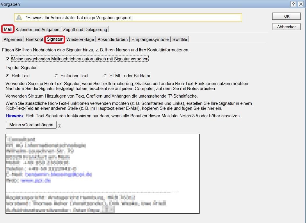 Lotus Notes E-Mail Signatur einfügen (Bild: Screenshot Lotus Notes 9).