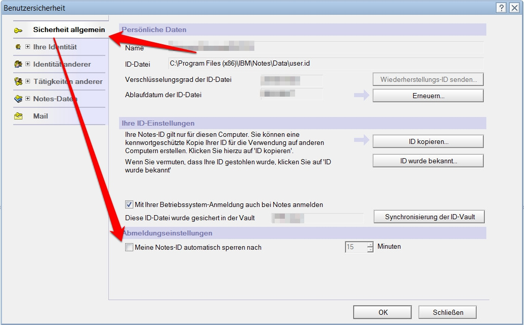 Lotus Notes automatisches Abmelden deaktivieren (Bild: Screenshot Lotus Notes 9).