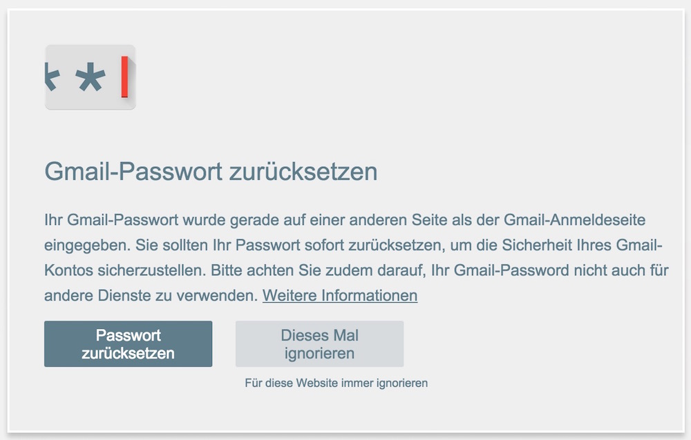 Passwort Warnung für Chrome (Bild: Screenshot Google Chrome Erweiterungen).