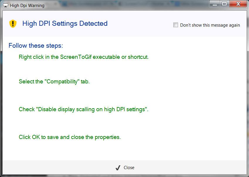 Screen2Gif Meldung beim Start (Bild: Screenshot Screen2Gif).