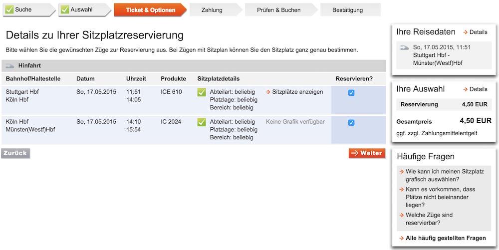 In den Details zur Sitzplatzreservierung der Deutschen Bahn kann ein individueller Platz ausgesucht werden (Bild: Screenshot Bahn.de).