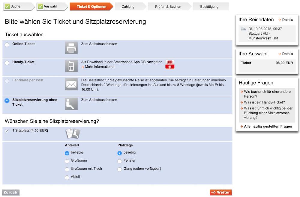 Sitzplatzreservierung ohne Ticket (Bild: Screenshot Bahn.de).