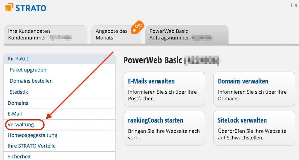 Verwaltung zum ausgewählten Hosting Paket auswählen (Bild: Screenshot Strato.de).