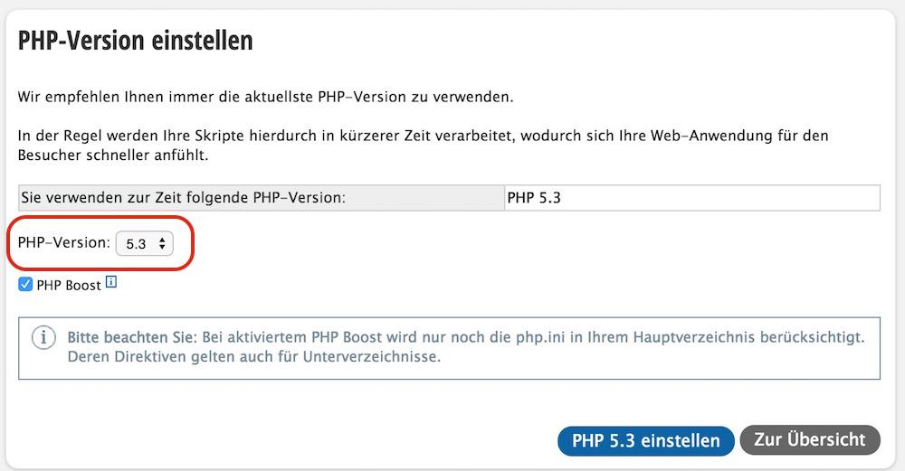 Die PHP Version für das Hosting Paket updaten (Bild: Screenshot Strato.de).