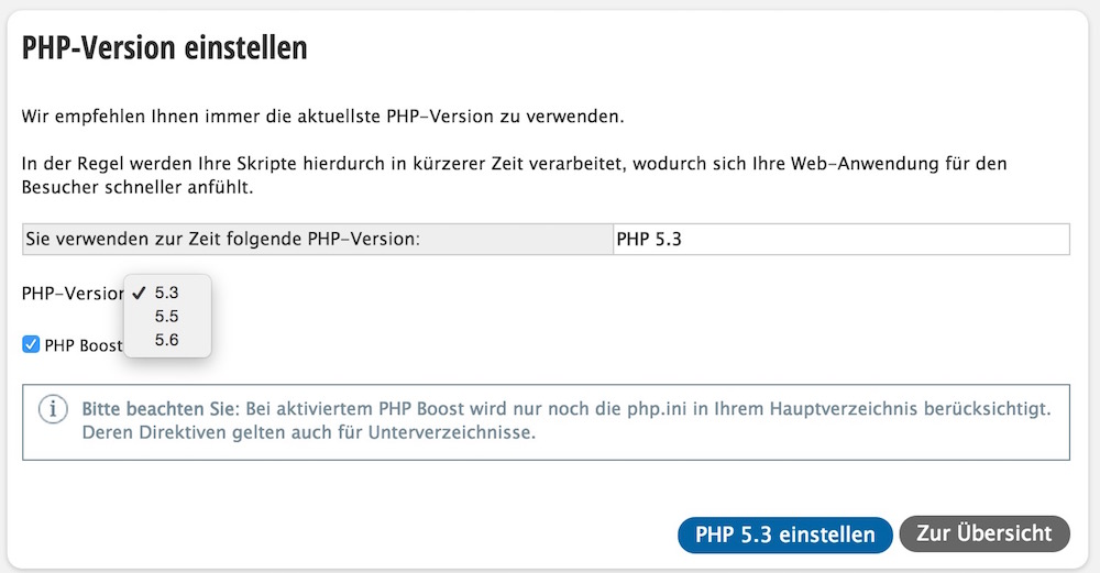 Die PHP Version für das Hosting Paket updaten (Bild: Screenshot Strato.de).