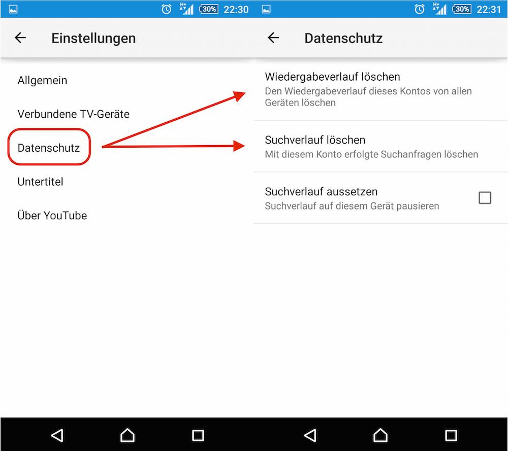 YouTube App Wiedergabeverlauf löschen (Bild: Screenshot YouTube App).