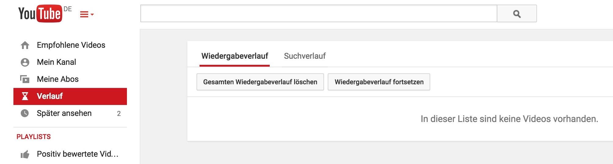 YouTube Wiedergabeverlauf löschen (Bild: Screenshot YouTube).