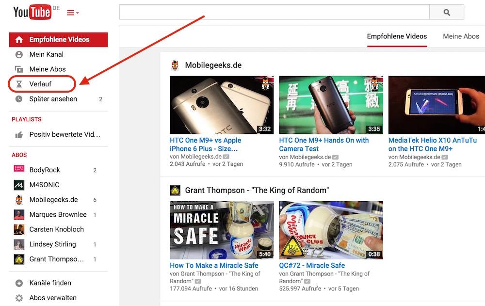 YouTube Verlauf löschen (Bild: Screenshot YouTube).