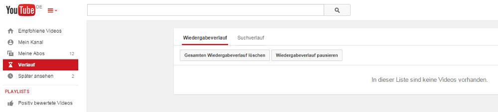 YouTube Wiedergabeverlauf & Suchverlauf pausieren (Bild: Screenshot YouTube).