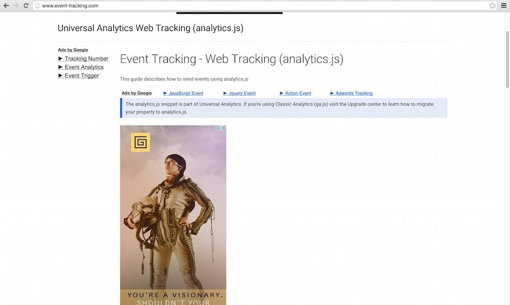 Über Google Analytics versucht event-tacking.com Besucher auf die eigene Seite zu bekommen (Bild: Screenshot event-tracking.com).