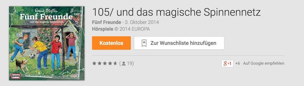 Fünf Freunde Hörbuch kostenlos im Google Play Store (Bild: Google Play).