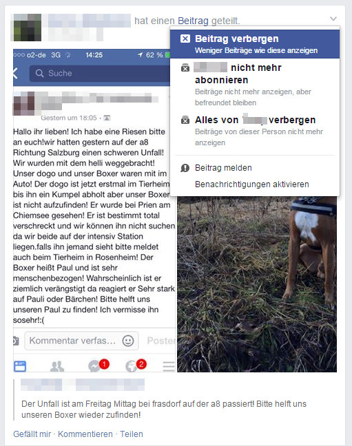 Beiträge auf Facebook verbergen  (Bild: Screenshot Facebook).