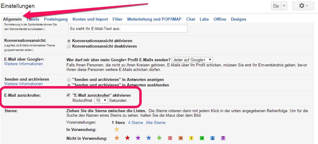 """""""Versand rückgängig machen"""" von E-Mails in Gmail (Bild: Screenshot Gmail)."""