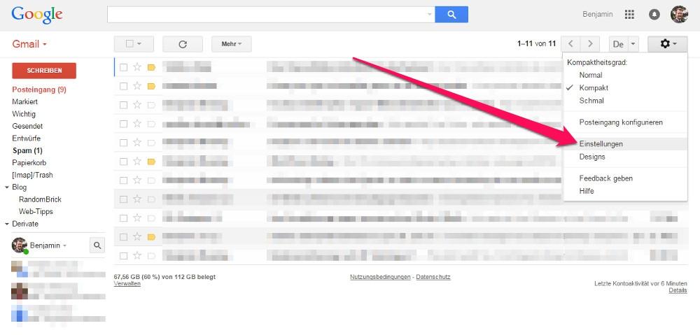Die Einstellungen in Gmail sind über das Zahnrad aufzurufen (Bild: Screenshot Gmail).